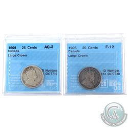 Pair of 1906 Canada 25-cent Large Crown CCCS Certified AG-3 & F-12. 2pcs.