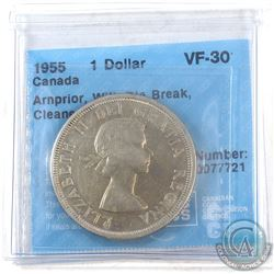 1955 Canada Silver $1 Arnprior with Die Beak CCCS Certified VF-30.