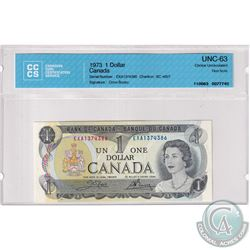 1973 Bank of Canada $1, Crow-Bouey, EXA Prefix, 1374386. CCCS Certified CUNC-63 Test Note.
