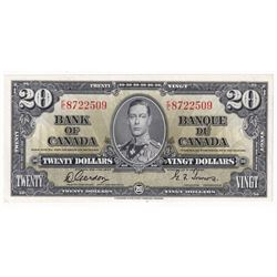BC-25b 1937 Bank of Canada $20 Gordon-Towers E/E8722509 in AU Condition.