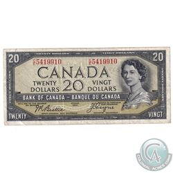 BC-33b 1954 Bank of Canada Devil's Face $20 Beattie-Coyne C/E5419910 F-VF. (writing)