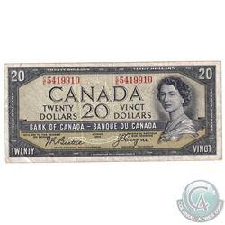 BC-33b 1954 Bank of Canada Devil's Face $20 Beattie-Coyne C/E5419910 F-VF. (writing)