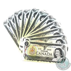 Lot of 1973 Bank of Canada $1 Notes in UNC Condition.  Lot includes 6 pairs of Consecutive numbers,