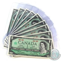 Estate Lot of 1954-1967 Bank of Canada $1 Notes in UNC Condition. You will receive 4x 1954 notes wit