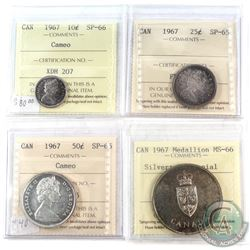 1967 Canada ICCS Certified Coin Collection.  You will receive the following, 10-cent SP-66 Cameo, 25