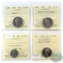 1971-1972 Canada ICCS Certified SP-66 Coin collection with minor Errors.  You will receive the follo