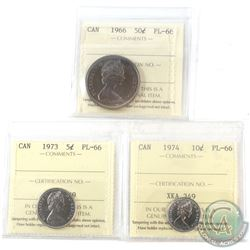 1966-1974 Canada ICCS Certified PL-66 Coin Collection. You will receive a 1966 50-cent, 1973 5-cent,