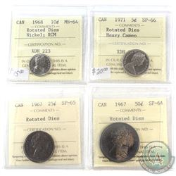 1967-1971 Canada ICCS Certified Coin collection with noted Minor Die Rotation Errors.  You will rece