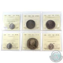 1967-1975 Canada ICCS Certified SP-66 Coin Collection. You will receive the following, 1967 10-cent,
