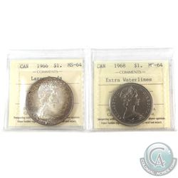 1966 Silver $1 Large Beads & 1968 Nickel $1 Extra Waterlines ICCS Certified MS-64. 2pcs.