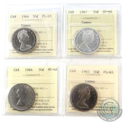 1964, 1965, 1966, 1967 Canada 50-cent ICCS Certified Collection. You will receive the following, 196