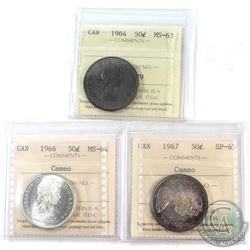 1964, 1966, 1967 Canada 50-cent ICCS Certified Collection.  You will receive the following, 1964 MS-