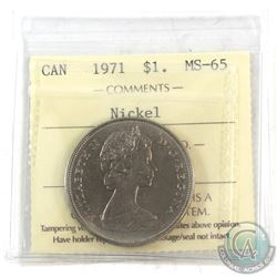 1971 Canada Nickel $1 ICCS Certified MS-65 with Die Crack in 'Canada' not noted on holder.