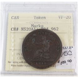 Canada Token ICCS Certified VF-20 CH# NS20A4; BR#962