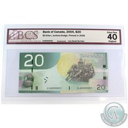 BC-64a-i 2004 Bank of Canada $20, Jenkins-Dodge LOW SERIAL NUMBER, ELB0000031 BCS Certified EF-40 Or