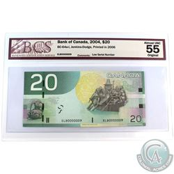 BC-64a-i 2004 Bank of Canada $20, Jenkins-Dodge LOW SERIAL NUMBER, ELB0000009 BCS Certified AU-55 Or
