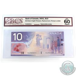 BC-63aA 2001 Bank of Canada REPLACEMENT $10 Knight-Thiessen, FDU9800811.  FDU (9.240M-10.00M)