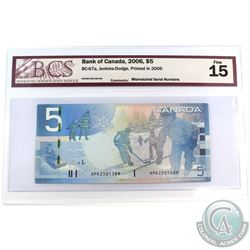 BC-67a Bank of Canada $5, Jenkins-Dodge, MISMATCHED SERIAL NUMBERS, BCS Certified F-15.  Serial # AP