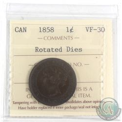 1858 Canada 1-cent ICCS Certified VF_30 Rotated Dies.