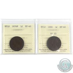 1876H & 1880 RO ED Newfoundland 1-cent ICCS Certified EF-40.  2pcs.