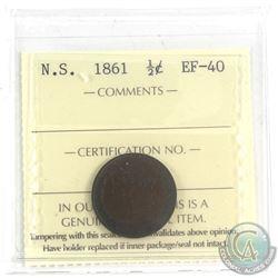 1861 Nova Scotia 1/2-cent ICCS Certified EF-40.