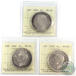 3x 1950 Canada Silver $1 ICCS Certified MS-60. 3pcs.