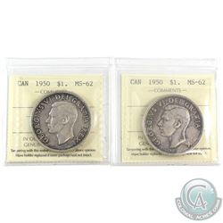 2x 1950 Canada Silver $1 ICCS Certified MS-62. 2pcs.