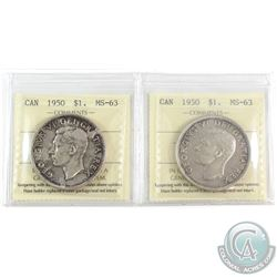 2x 1950 Canada Silver $1 ICCS Certified MS-63. 2pcs.