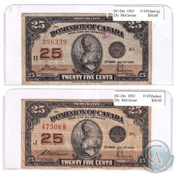 Pair of 1923 25-cent Dominion of Canada McCavour F-VF(damaged). 2ppcs