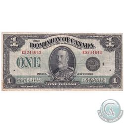 """1923 $1 DC-25o Dominion of Canada """"Black Seal, Group 4"""" Campbell-Clark Banknote."""