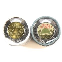 2019 Canada $2 Non-Coloured & Coloured D-Day Special Wrap Rolls of 25pcs. 2 rolls