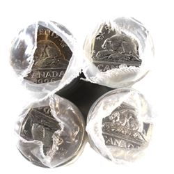 1995, 1996, 1997 & 1998 Canada 5-cent Original Rolls of 40pcs (End coins in the roll may be toned).