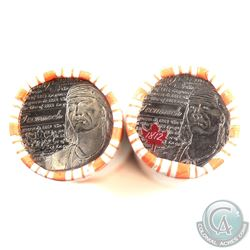 2012 Canada 25-cent Tecumseh Circulated Rolls. One roll is fully coloured and the other is fully non