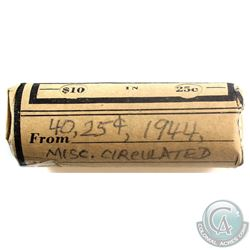 1944 Canada 25-cent Circulated Roll of 40pcs