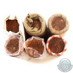 1980-1987 Canada 1-cent Original rolls of 50pcs - 1980, 1981, 1982, 1983, 1985 & 1987 (1980 is unwra
