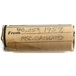 1957 Canada 25-cent Circulated Roll of 40pcs