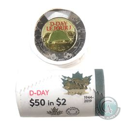 2019 Canada $2 Coloured D-Day Special Wrap Roll of 25pcs