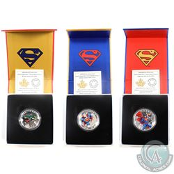 3x 2014 Canada Superman Fine Silver Coins (TAX Exempt) $10 Iconic Superman - Action Comics #1 (1938)