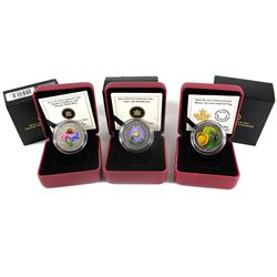 2012-2014 Canada 25-cent Flower & Fauna Coloured Cupronickel Coins - 2012 Aster and Bumble Bee, 2013