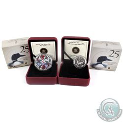 2012 Canada $1 Artistic Two Loons & 2012 $1 25th Anniversary of the Loonie Fine Silver Coins. 2pcs (