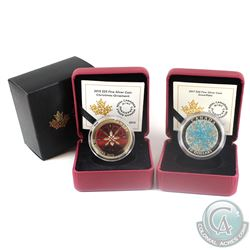 2015 Canada $25 Christmas Ornament & 2017 $20 Coloured Snowflake Fine Silver Coins (2015 sleeve has