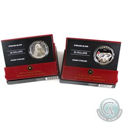 2006 & 2007 Canada $30 Sterling Silver Coins - 2006 Dog Sled Team & 2007 Vimy Ridge Memorial. 2pcs