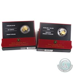 2005 & 2006 Canada 50-cent Canadian Floral Collection Gold Plated Sterling Silver Coins - 2005 Golde