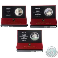 2005, 2006 & 2007 Canada $20 Tall Ships Fine Silver Coins - 2005 3-Masted Ship, 2006 Ketch & 2007 Br
