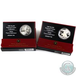 2006 Canada $20 National Park Fine Silver Coins - Georgian Bay & Nahanni Northwest Territories. 2pcs