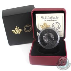 2018 Canada $20 Nocturnal by Nature - The Howling Wolf Fine Silver Coin (Capsule is lightly scuffed)