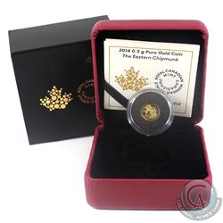 2014 Canada 25-cent Chipmunk Pure Gold Coin (Light residue on sleeve). (TAX Exempt)