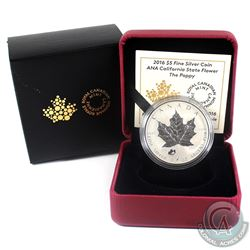 2016 Canada $5 Poppy Privy - ANA California State Flower Fine Silver Coin. (TAX Exempt)