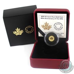 2019 Canada 25-cent 40th Anniversary of the GML Pure Gold Coin. (TAX Exempt)