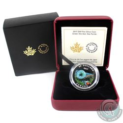 2017 Canada $20 Under the Sea - Sea Turtle Fine Silver Coin (Sleeve unglued on one side). (TAX Exemp